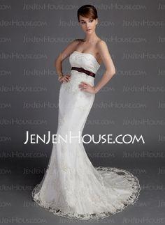 $189.99 - Mermaid Sweetheart Court Train Satin Lace Wedding Dresses With Sashes Beadwork