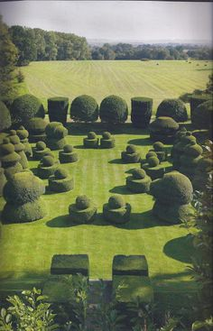 The Chess Garden at Haseley Court, Little Haseley, Oxfordshire, England.