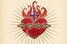 The Hearts of Jesus & Mary — On This Day Designs Jesus Tattoo, Mary Tattoo, Sagrado Corazon Tattoo, Sacred Heart Tattoos, Simple Line Drawings, Christian Tattoos, Jesus Art, Christian Symbols, Heart Of Jesus