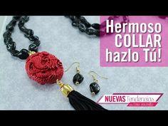 Como hacer collar perla gris borla roja Kit 19979 - YouTube