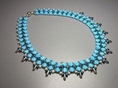 Blue Bay Necklace  Silky Czech beads by zviagil on Etsy