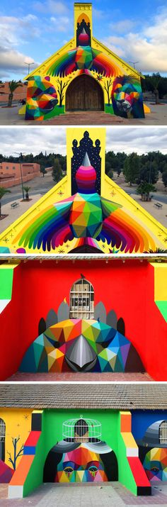 Okuda San Miguel Wraps a Moroccan Church in a Vibrant Geometric Mural