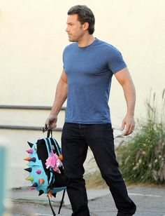 """Mr. Batman himself is all, """"I'm Batman"""" in his tight blue shirt with some intense VML (visible muscle lines). 