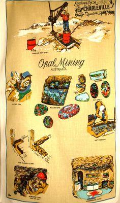 Opal Mining Australia Tea Towel  Retro Vintage by FunkyKoala