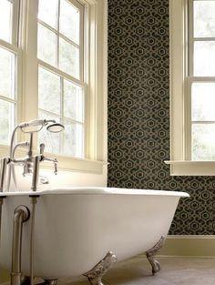 San Remo Black in a bathroom. Looks amazing! $99 a roll from www.wallcandywallpaper.com.au