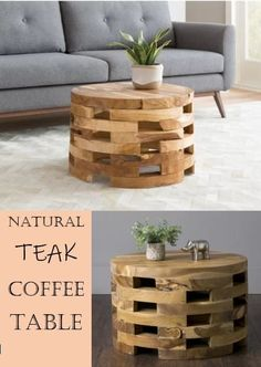 Rustic Bandla Coffee Table - Finished in warm espresso with an artful geometric motiv, this coffee table makes a perfect addition to the back porch or sun room. #livingroom #coffeetable #wood #naturalwood #ad