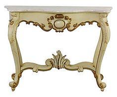 Consolle in mogano e marmo Luigi crema/oro - 145x96x55 cm