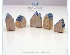 Five Houses miniature pottery houses by PracowniaCeramiczna Clay Houses, Ceramic Houses, Miniature Houses, Pottery Houses, Pottery Studio, Stoneware Clay, Little Houses, I Shop, Place Card Holders