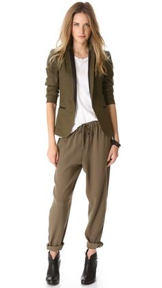 Rag & Bone blazer, white T, slouchy pants & the beloved Harrows - can't wait for fall!