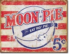 Moon Pie American Tin Metal Sign Decor Vintage Look Kitchen Advertising Logo Vintage Diner, Vintage Metal Signs, Vintage Ads, Vintage Posters, Vintage Advertisements, Vintage Kitchen, Vintage Advertising Signs, Vintage Stuff, Vintage Images