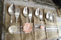 50 Burlap Silverware Holders. Burlap Cutlery Holder. Flatware Holder. Burlap…