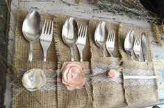 50 Burlap Silverware Holders. Burlap Cutlery by MagicalStart