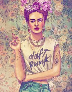 Frida Kahlo rocking Daft Punk  JUN 05 2012 Fabian Ciraolo does illustrations that mash up old and new pop culture. My favorite is Frida Kahlo rocking a Daft Punk t-shirt: Artist - Fabian Ciraolo Daft Punk, Art And Illustration, Arte Pop, Hipsters, Fashion Fantasy, Pop Art, Tomie Ohtake, Street Art, Frida Art