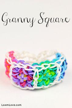 How to Make the Granny Square Bracelet -  Rainbow Loom video tutorial