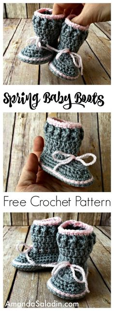 Crochet Baby Girl Free crochet pattern: Spring Baby Boots by Amanda Saladin - Whip up a sweet pair of spring baby boots with this free pattern. These make an adorable gift for a baby shower or a little one you love. Booties Crochet, Crochet Baby Boots, Crochet Slippers, Slipper Socks, Crochet Baby Blanket Beginner, Baby Knitting, Crochet For Kids, Free Crochet, Crochet Baby Hats
