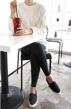 loose fit untucked sweater + leggings + slip on sneakers