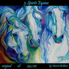 M BALDWIN HORSE ART ORIGINAL PAINTING ~ THREE SPIRITS EQUINE ~ MARCIA BALDWIN #Abstract