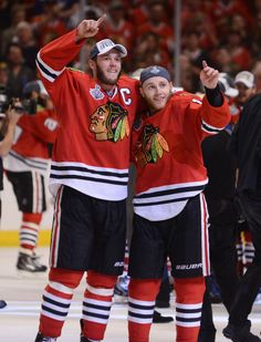 Chicago Blackhawks center Jonathan Toews and Patrick Kane, right, salute the fans Monday after winning the Stanley Cup Final Game 6 at the United Center in Chicago. Want to celebrate the win with the team and the entire city of Chicago? We've got some tips to get the most out of your parade and celebration experience Thursday.