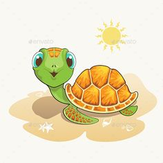 Buy Turtle Cartoon by amornism on GraphicRiver. Cute turtle cartoon on the beach Cute Turtle Cartoon, Beach Cartoon, Cute Baby Turtles, Land Turtles, Turtle Images, Frog Illustration, Tortoise Turtle, Turtle Love, Illustrations