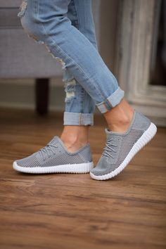 The Bonnie Knit Sneakers Grey - The Pink Lily