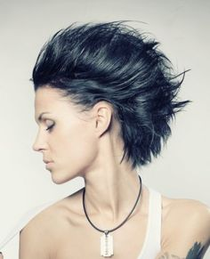 A medium black straight spikey Rock-Chick hairstyle by Web Collections