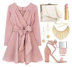 """""""Glistening Grad"""" by amadea-wilhite ❤ liked on Polyvore featuring Cloverpost, WithChic, Coast, Too Faced Cosmetics, Raye and Nails Inc."""