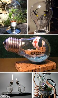 15 creative and original deco ideas with light bulbs - DIY Decorations Recycled Light Bulbs, Recycled Art, Repurposed, Light Bulb Art, Light Bulb Crafts, Ship In Bottle, Pen Design, Old Lights, Bud Vases