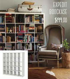 Expedit bookcase display - fill it up with books randomly stacked. Nice rustic feel to it.