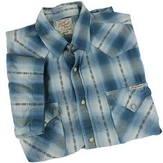 4cee6565f61 Lucky Brand Western Shirt Mens Size Large Blue Plaid Short Sleeve Pearl  Snap  LuckyBrand  Western