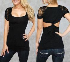 #Polera negra con mangas rasgadas www.idilica.cl