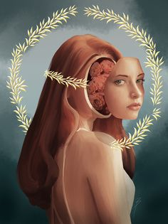 face removed cutted face roses brain inside woman portrait with roses hand painted portrait art of a girl looking with green eyes red hair ginger and halo of saint religious magical surrealist painting Woman Portrait, Female Portrait, Portrait Art, Green Eyes, Red Hair, Halo, Brain, Roses, My Arts