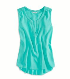 Tidal Foam AEO Factory Sleeveless Chiffon Top