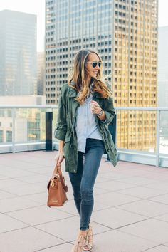 tassel sandals, military jacket, chambray, casual outfit —via @TheFoxandShe