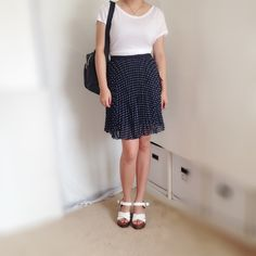 NWOT Pleated Polka Dot Skirt NWOT. No damage. Navy with white polka dots. Pleated. Navy elastic waistband. Forever 21 Skirts