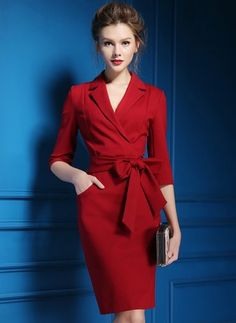 Solid Pencil Collar Knee-Length Bodycon Dress