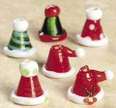 Santa Hats Lampwork Glass Beads