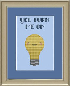 You turn me on: cute light bulb cross-stitch pattern. $3.00, via Etsy.