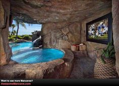 Hot tub with a tv... what a life that must be!