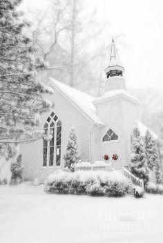 Quaint church in winter glory
