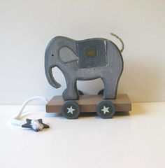 Vintage Wooden Elephant pull toy ($34) by jewelryandthings2