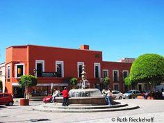 Small plaza next to the San Jose Church, Tlaxcala, Mexico