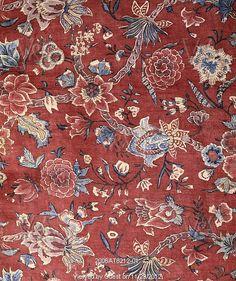 Man's nightgown or Banyan, detail. Indian chintz. England, c.1740.