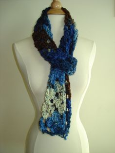 Funky/ Teen/ Handmade Crochet Scarf Blue/Khaki/Brown by Belisse, $20.00