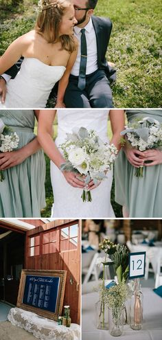 A Rustic Navy Blue And Sage Green - Love the flowers.
