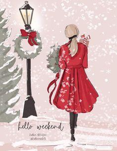 Bon Weekend, Hello Weekend, Weekend Vibes, Christmas Quotes, Christmas Greeting Cards, Christmas Messages, Illustrations, Illustration Art, Cartoon Drawings