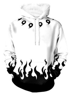d906e0c41962 Flame Print Pouch Pocket Long Sleeve Hoodie