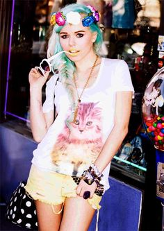 Tokyolux by Audrey Kitching.  -  I HAVE to have that Rainbow Kitty Cat shirt.