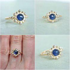 Blue Rose Cut Sapphire & White Diamonds 14k Yellow Gold Ring