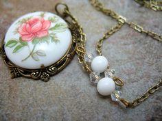 Milk Glass Rose Cabochon Pendant in Antique by DrunkGirlJewelry, $25.00