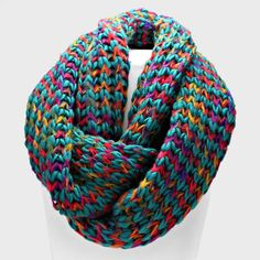 Teal and Multi Colored Knit Infinity Scarf